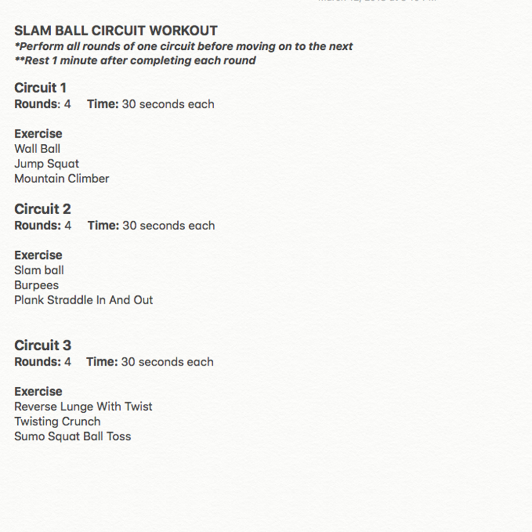 Real Workout Slam Ball Circuit Nicole Wilkins Superset Style Bootcamp Ideas The